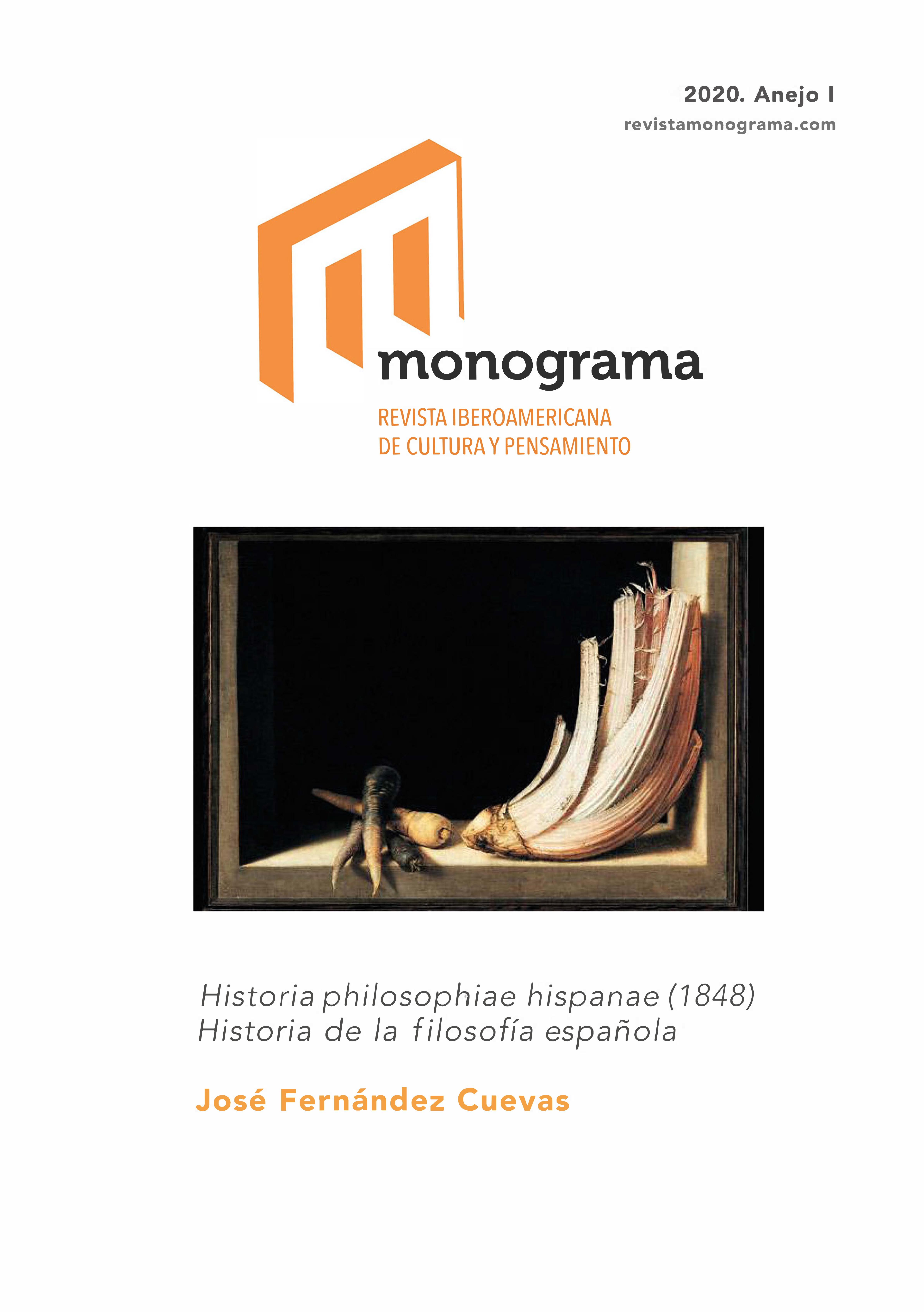 Ver Núm. Anejo 1 (2020): Historia philosophiae hispanae (1848) Historia de la filosofía española