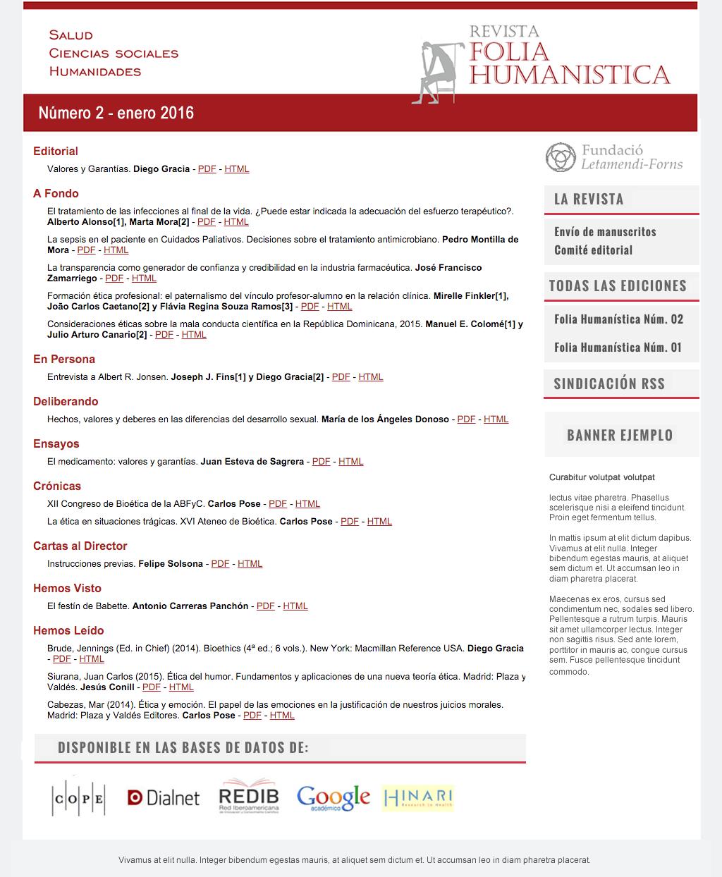 Ver Vol. 2 Núm. 6 (2021): Folia Humanística